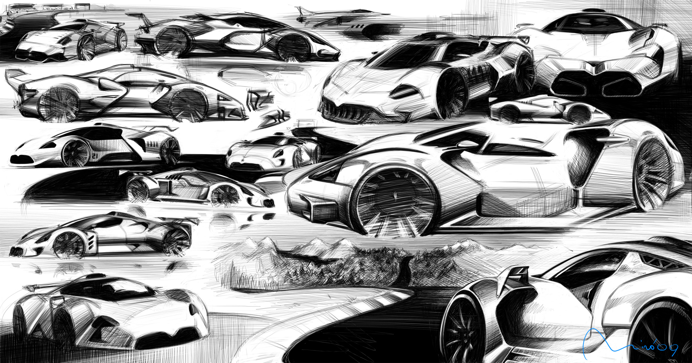 Maserati Sports Car Sketches by Miroslav Dimitrov