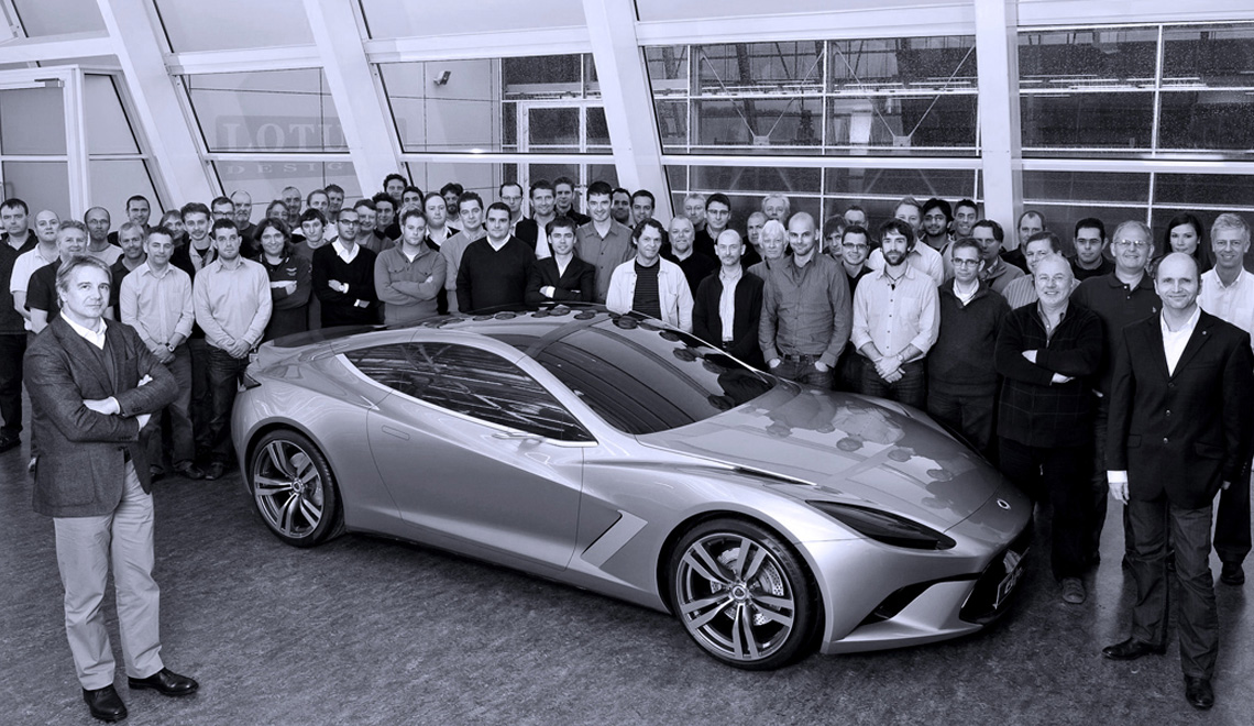 Miroslav with the Lotus Cars design team at Hethel, England