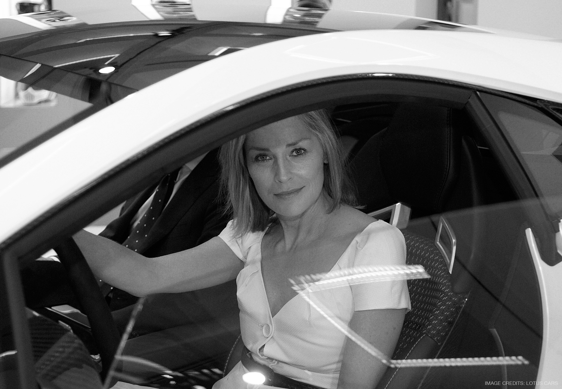 Sharon Stone sitting in the Lotus Esprit Concept car interior with seat designed by Miroslav Dimitrov