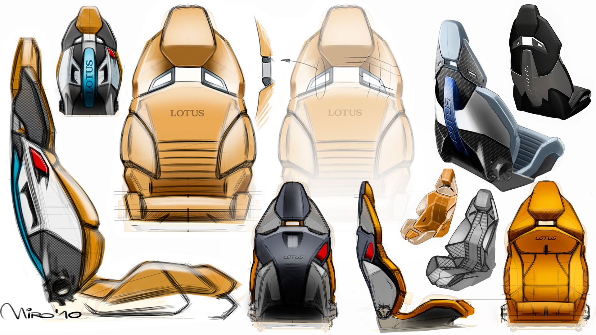 Miroslav's Interior Design sketches of the Lotus Esprit Concept Car Seats