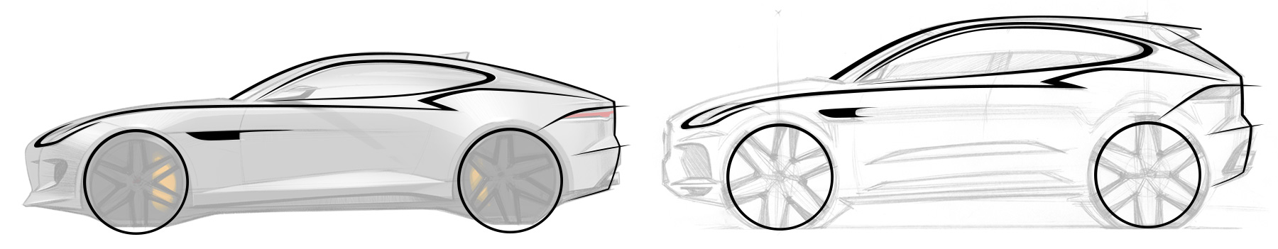 Miroslav's Sketch Revealing the design DNA shared between the Jaguar F-Type and the Jaguar E-pace