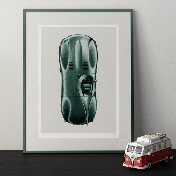 1955 Jaguar D-Type Artwork by Miroslav Dimitrov
