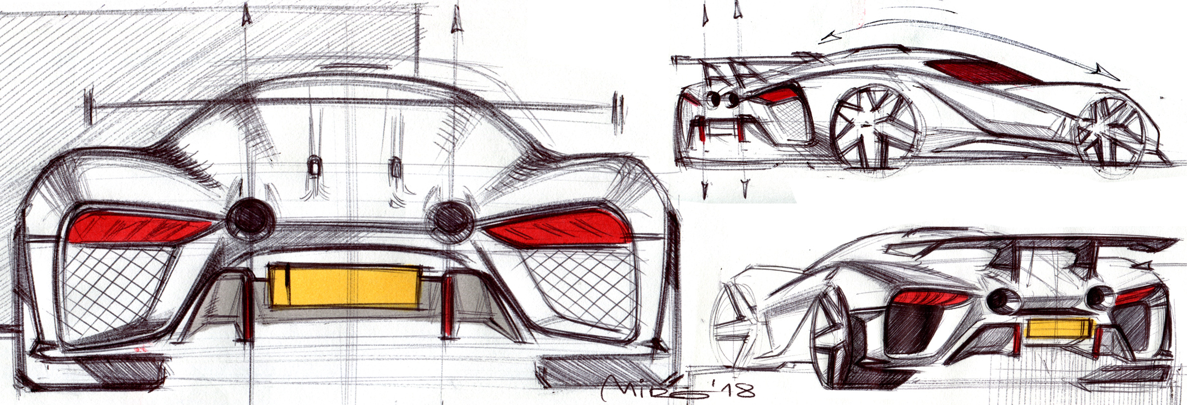 EIDO GTR Concept, rear end design sketches