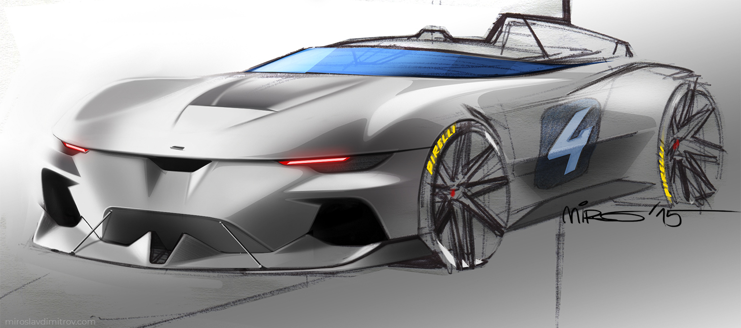 Concept Sketch of Electric Race Car © 2019 Miroslav Dimitrov