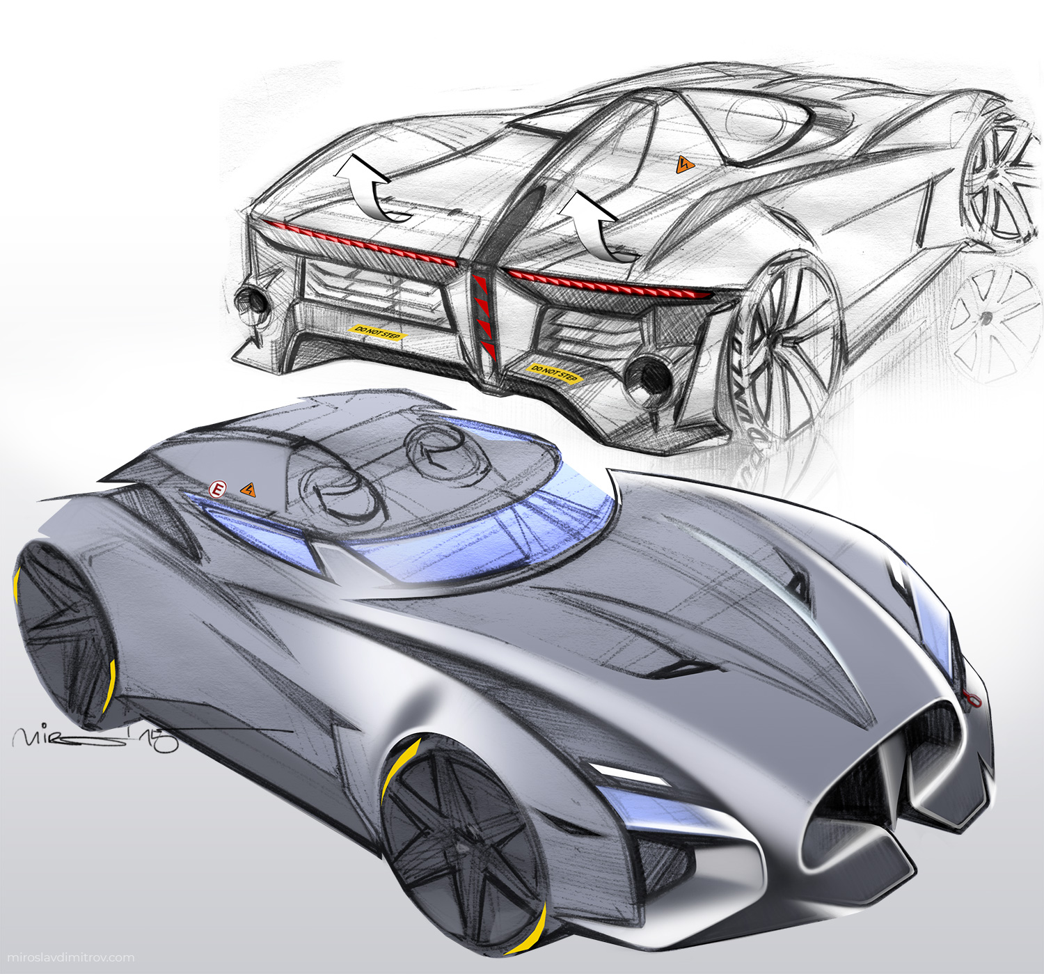 Design Sketch of Electric Race Car © 2019 Miroslav Dimitrov
