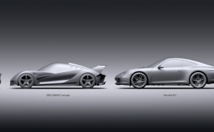 EIDO MA001 Concept 3D WIP Model, Volume & Proportions Comparison
